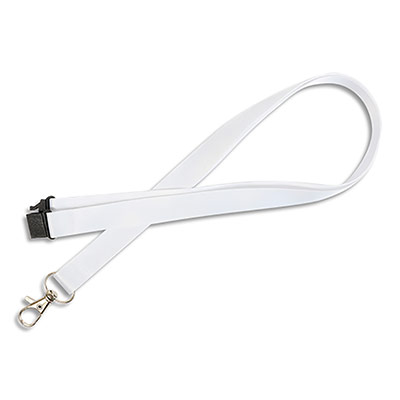 Tour de cou Avery avec mousqueton et clip de sécurité - longueur 44 x largeur 1,5cm - boîte de 10 - blanc
