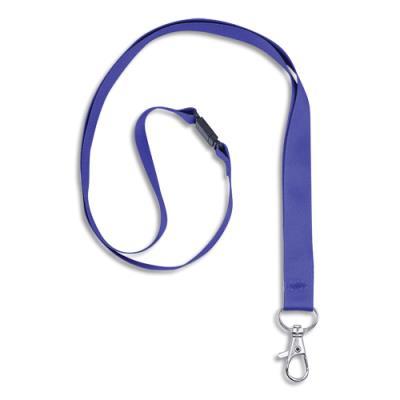 Tour de cou Avery avec mousqueton et clip de sécurité - longueur 44 x largeur 1,5cm - boîte de 10 - bleue