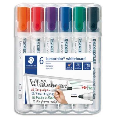 Marqueur effaçable à sec Staedtler Lumocolor 351- pointe ogive 2 mm - étui de 6 - coloris assortis