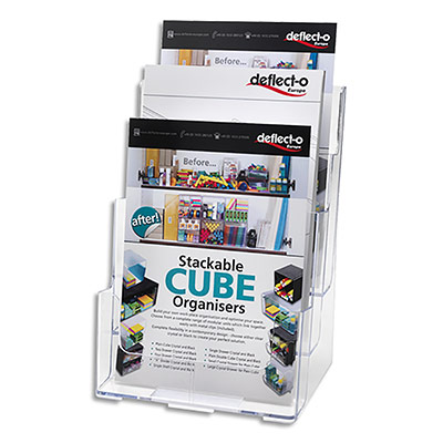 Porte-brochures Deflecto - 3 compartiments - A4 vertical incliné - polystyrène