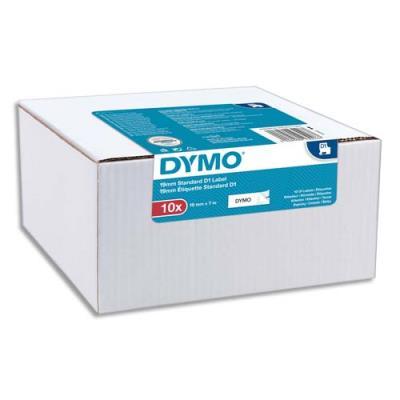 Rubans Dymo D1 - 9mm x 7 m - pack de 10 - noir/blanc