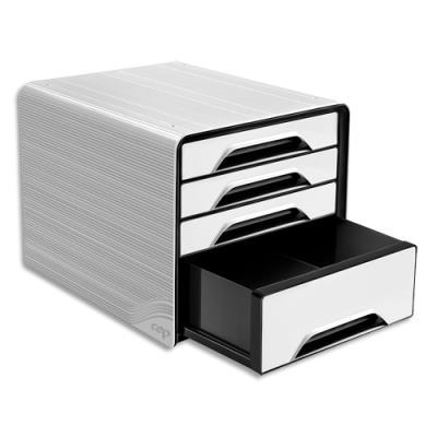 Module de classement Cep Smoove - 3 tiroirs standard + 1 tiroir maxi - L36 x H27,1 x P28,8 cm - blanc/noir