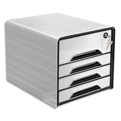 Bloc class Cep Smoove Secure - 1 maxi tiroir qui ferme à clé+3 tiroirs std - L36xH27,1xP28,8cm - Noir/Blanc