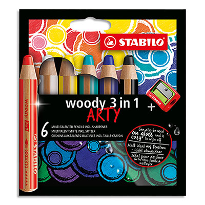 Crayons couleur Stabilo Woody 3en1 Arty - mine extra large 10 mm - etui de 6 - assortis + 1 taille crayon (photo)