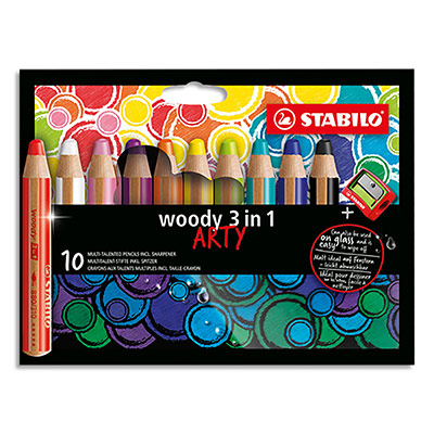 Crayons de couleur Stabilo Woody 3en1 Arty - mine extra large 10 mm - etui de 10 - assortis + 1 taille crayon (photo)
