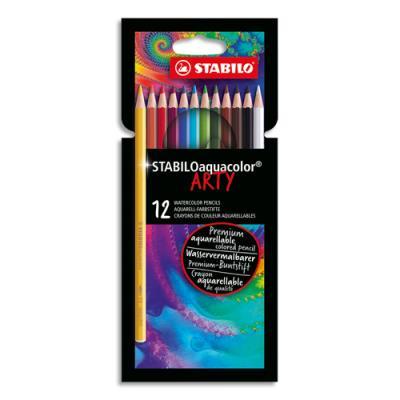 Crayons de couleur Stabilo aquarellables Aquacolor Arty - mine solide 2,8 mm - étui de 12 - assortis (photo)