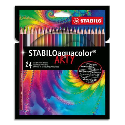 Crayons de couleur Stabilo aquarellables Aquacolor Arty - mine solide 2,8 mm - étui de 24 - assortis (photo)
