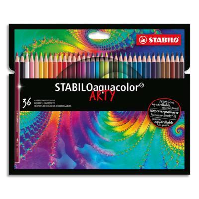 Crayons de couleur Stabilo aquarellables Aquacolor Arty - mine solide 2,8 mm - étui de 36 - assortis (photo)