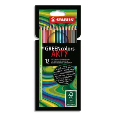 Crayons de couleur Stabilo Greencoloors Arty - corps fin hexagonal - bois - mine 3mm - étui de 12 - assortis (photo)