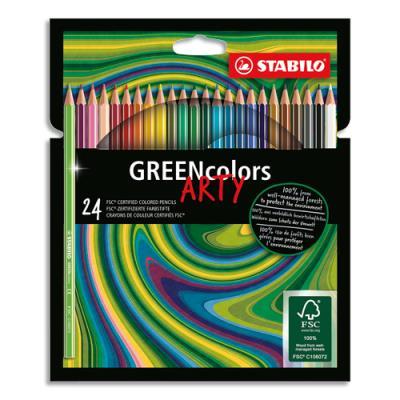 Crayons de couleur Stabilo Greencoloors Arty - corps fin hexagonal - bois - mine 3mm - étui de 24 - assortis (photo)