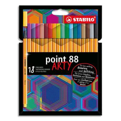 Stylos feutres Stabilo Point 88 Arty - pointe fine grainée de métal - tracé 0,4 mm - étui de 18 - assortis