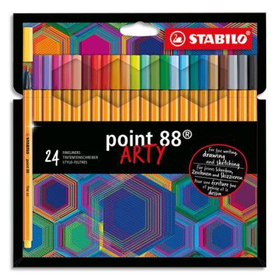 Stylos feutres Stabilo Point 88 Arty - pointe fine grainée de métal - tracé 0,4 mm - étui de 24 - assortis