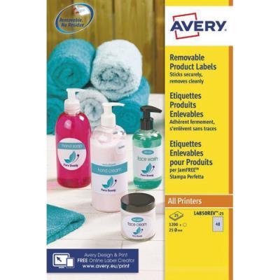 Etiquettes rondes enlevables Avery - 25mm - blanc - boite de 1200