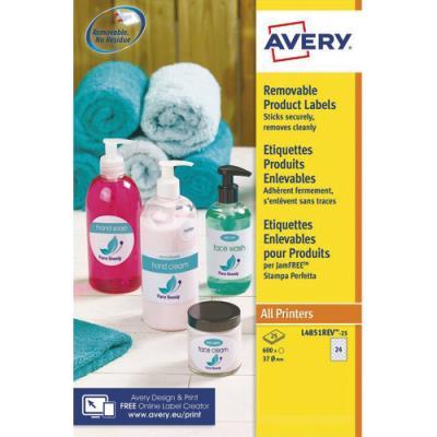 Etiquettes rondes enlevables Avery - 37mm - blanc - boite de 600