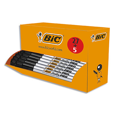 Marqueur permanent Bic Marking pro - pointe biseauté 1,7 à 4,7 mm -pack de 27+5 - encre noire