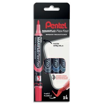 Marqueur effaçable à sec Pentel Maxiflo - pointe ogive extra-large 4 mm - pochette de 4 - assortis standard