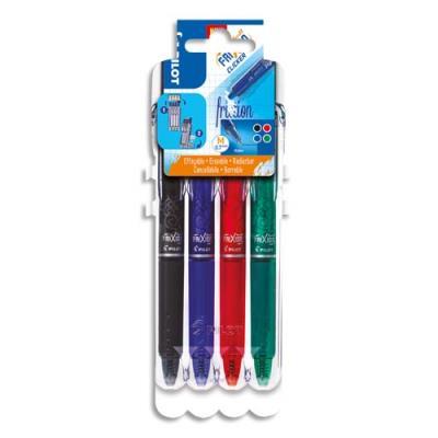 Roller Pilot FriXion Clicker - pointe moyenne 0,7 mm - evolutive set de 4 - assortis noir, bleu, rouge, vert