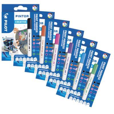 Marqueur Pilot Pintor - pointe fine - set de 6 - assortis fun : noir, violet, turquoise, rose, vert clair, orange