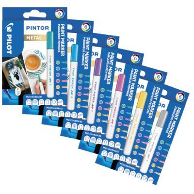 Marqueur Pilot Pintor - pointe fine - set de 6 - assortis métal : argent, rose, violet, bleu, vert, or