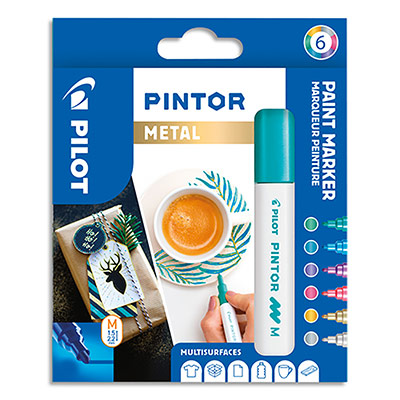 Marqueur Pilot Pintor - pointe moyenne - set de 6 - assortis métal : argent, rose, violet, bleu, vert, or