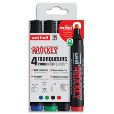 Marqueur permanent Uniball Prockey - pointe biseautée - pochette de 4 - assortis