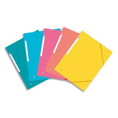 Chemise 3 rabats élastique Oxford Top File - A4 - carte lustrée 390 g - coloris 5 assortis fraiche