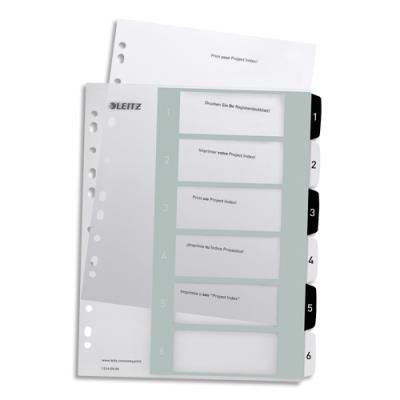 Intercalaire numérique imprimable Leitz Wow  - 6 touches - format A4+ - polypro translucide noir/blanc (photo)
