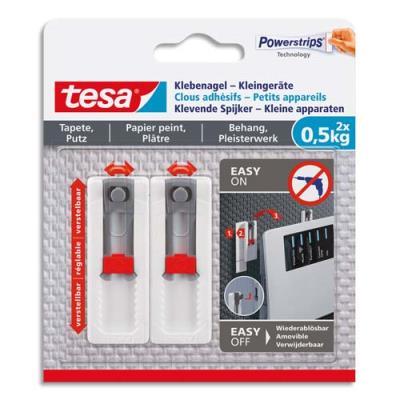 Clous adhesif Tesa - ajustable pour petit appareil - -0,5 kg sur mur - blister de 2 (photo)