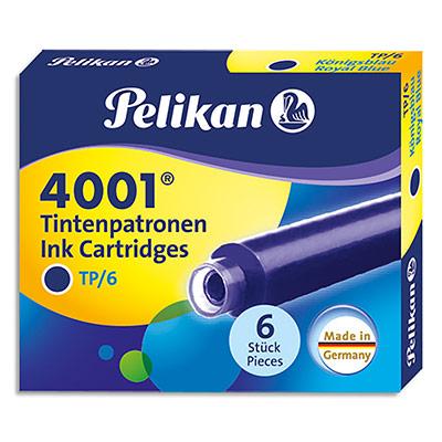 Etui Pelikan de 6 cartouches standard - pour tous stylos plume à cartouches - encre effaçable bleu royal (photo)
