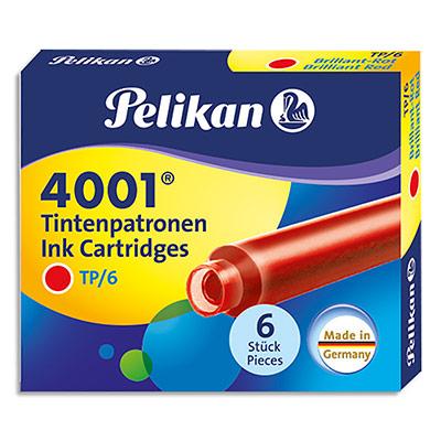 Etui Pelikan de 6 cartouches standard - pour tous stylos plume à cartouches - encre effaçable rouge (photo)