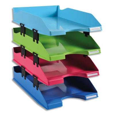 Corbeille à courrier Exacompta - 12 éléments superposition fournis - set de 4 - coloris assortis
