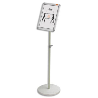 Présentoir sur pied Nobo - cadre clipsable - aluminium - formatA4