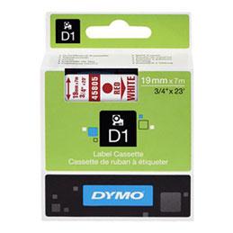 Ruban Dymo D1 - 45805 - Ruban rouge/blanc - 19mm x 7m