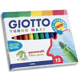 Etui de 12 feutres de coloriage Giotto Turbo Maxi - pointe large - coloris assortis (photo)