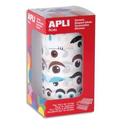 Gommettes Apli - yeux adhésifs - coloris assortis - rouleau de 1380 (photo)