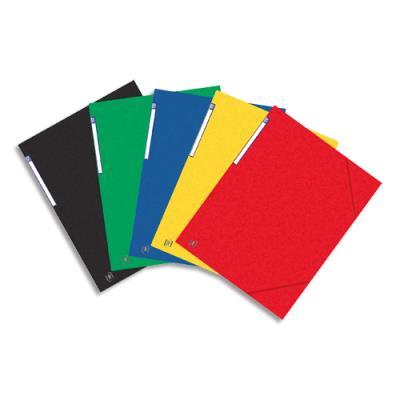 Chemise 3 rabats et élastique Elba - format A3 29,7 x 42 cm - carte lustrée rigide 7/10e - coloris assortis (photo)