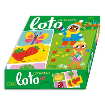 Jeu de loto Lito Diffusion - sur les saisons - boîte solide - 1 planche de 6 images par saison - dès 3 ans (photo)