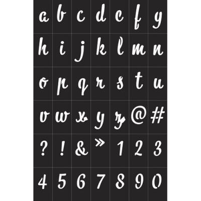 Pochoirs Graine Créative alphabétique - noir - vynile souple - adhésifs - repositionnables - pour textile (photo)