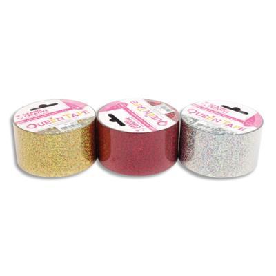 Rouleaux Graine Créative Queen Tapes - 48 mm x 8 m - assortiment holographique - rouge argent et or - lot de 3 (photo)