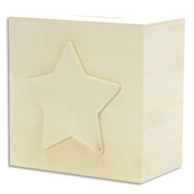 Tirelire Graine Créative - étoile - bois - 10 x 10 x 6cm - à décorer : peinture - collage - mosaique - gluepatch