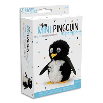 Kits petits pingouins pompons Graine Créative - 2 couleurs - laine - feutrine prédécoupée - yeux mobiles - lot de 6