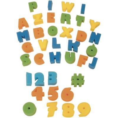 Eponges tampons Graine Créative : 26 alphabet + 11 chiffres - pour peinture à l'eau ou gouache - lot de 37 (photo)