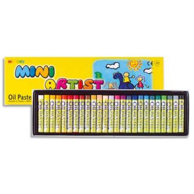 Pastels à l'huile Mungyo - pigmentation extra fine - fort pouvoir couvrant - D8 x L59mm assortis - boîte de 24 (photo)