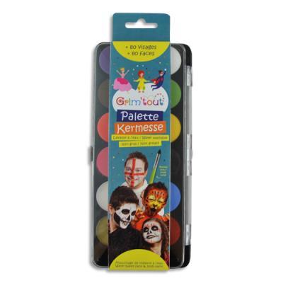 Galets de maquillage à l'eau+ pinceau Grim Tout - normes cosmétiques - nettoyage eau et savon - sachet de 12