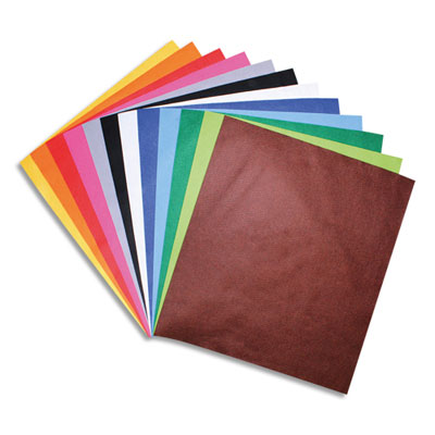 Feuilles Sodertex - feutrine -  couleurs assorties - 180 g/m² - format 45 x 50 cm - épaisseur 1 mm - sachet de 12 (photo)