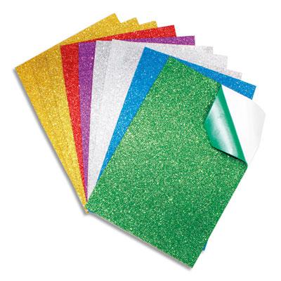 Feuilles Sodertex - mousse eva - pailletée adhésive - A4 - épaisseur 2 mm - 6 coloris assortis - sachet de 10 (photo)