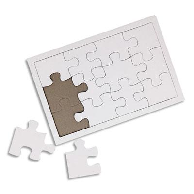 Puzzles Sodertex - carton - blanc - 900 g/m² - avec cadre - à customiser - format 12/14 x 19/21 cm - lot de 10