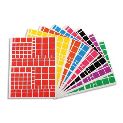 Planches Apli - gommettes carrés -tailles et couleurs assorties - pochette de 18