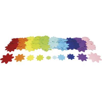 Fleurs Sodertex - feutrine adhésive - 10 coloris assortis - 4 tailles d2,5/4/5,5/7 cm - épaisseur 1 mm - pack de 150 (photo)