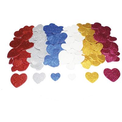 Cœurs Sodertex - mousse eva pailletée adhésive - 6 coloris assortis - 4 tailles d1,5/2/3/4 cm - épais 2 mm - pack de 200